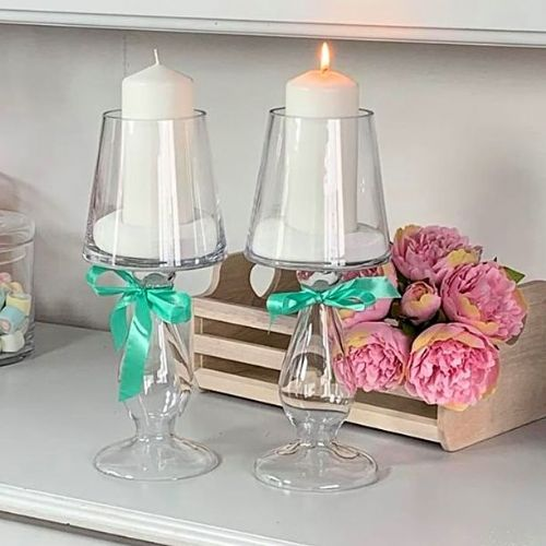 Glass Tall Candle Holder Set 35cm